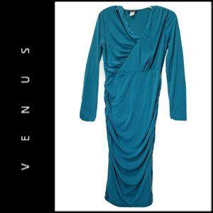 Venus Women Long Sleeve Body Con Dress Blue